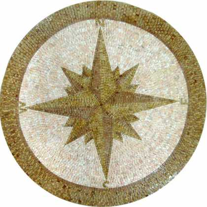 MD511 gold and salmon pink compass star Mosaic