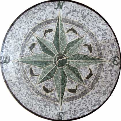MD575 dark green compass sone art Mosaic
