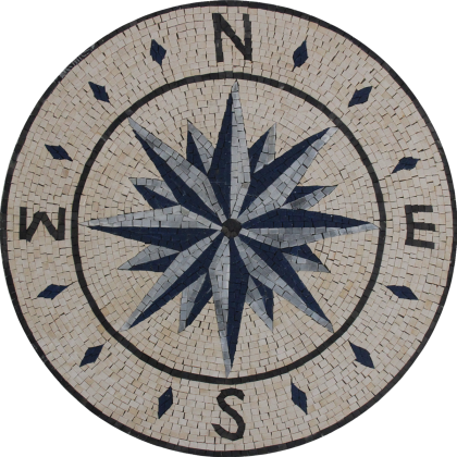 Ocean blue compass nautical star Mosaic
