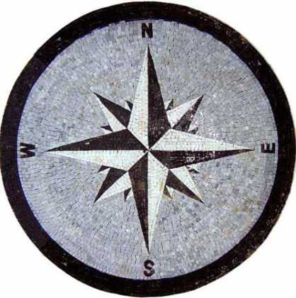 MD612 black & white compass on grey background Mosaic