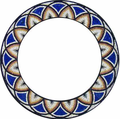 Blue Overlapping Circles Round Mirror Border Mosaic