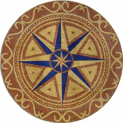 MD694 navy blue gold and brown compass star Mosaic