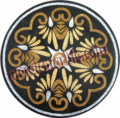 MD705 elegant black & gold floral design Mosaic
