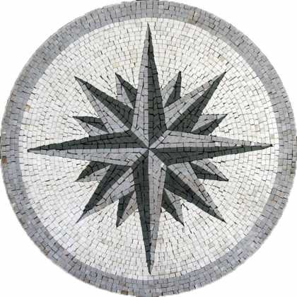 MD72 grey & black compass on white backgrounf Mosaic