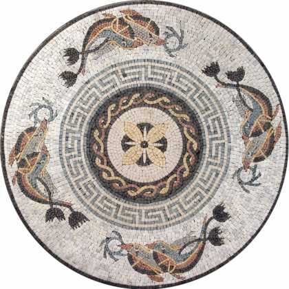 Marble Medallion Meanders & Waves Dolphin Mosaic