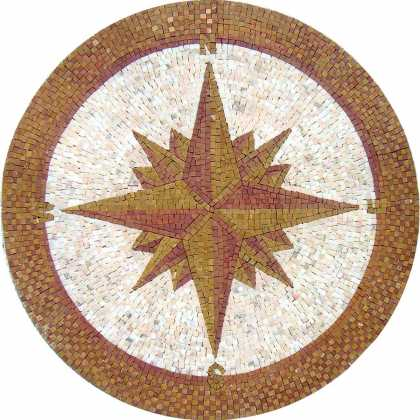 MD764 brown compass on white background Mosaic