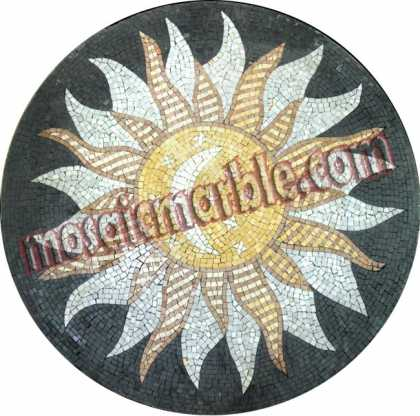 MD787 Moon & stars inside sun illustration style Mosaic