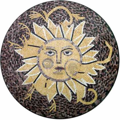 MD79 Sun face art mosaic on dark dotted background