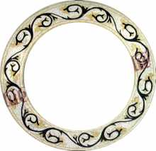 Black Vines Spiral Round Mirror Border Mosaic