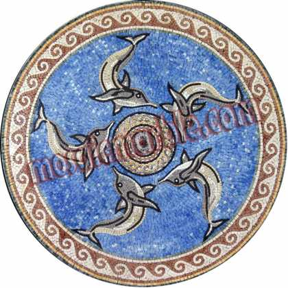 MD843 Dolphins Swimming Circle on Turquoise Mosaic