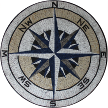 Compass round medallion for wall or floor