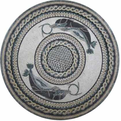 Medallion Marble Grey Circular Pattern Dolphins Mosaic
