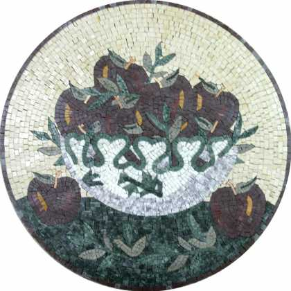 Apple Bowl Still Life Wall Medallion Mosaic