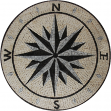 Marble Medallion Grey Black & Cream Compass Mosaic