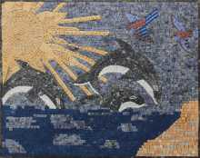 Ocean Waves and Killer Whales Mosaic in Azul Bahia