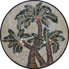 Round Palm Tree Tropical Mosaic