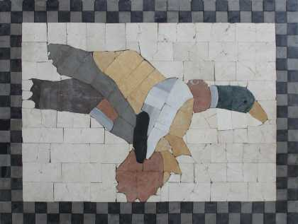 Flying Duck Checkered Border Wall Mosaic