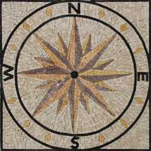 Square Floor Navigation Compass Mosaic
