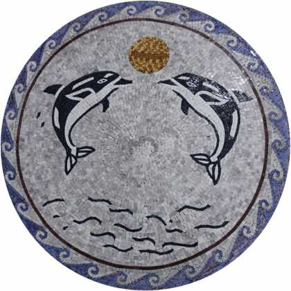 AN1071 Swimming Dolphins Medallion Sun Blue  Mosaic