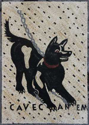 AN1127 Small chained black & white dog Mosaic