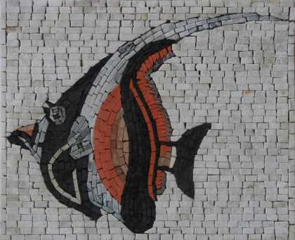 Angel Fish with Orange Details Mosaic Art