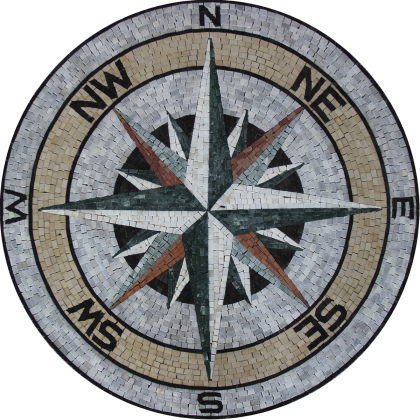Marble Mosaic Medallion Earth Tones Compass