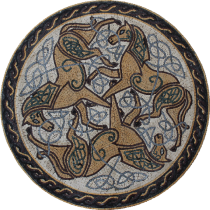 Triple Artistic Horses Rope Border Round  Mosaic