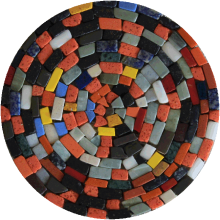 Crazy Tumbled Colorful Round Mosaic