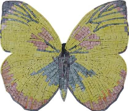 Beautiful Yellow Butterfly Kiss  Mosaic
