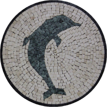 Marble Medallion White Background Dolphin Mosaic