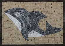Grey Dolphin Mosaic Tile Insert