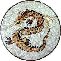 Marble Medallion Golden Dragon on White Mosaic