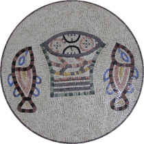 Double Fish Handmade Round Medallion Mosaic