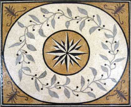 Mosaic Compass With Floral Details