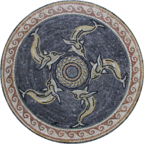 Dancing Dolphins Round Medallion Mosaic