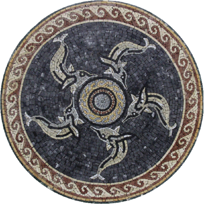 Dolphins Swimming in Circle Medallion  Mosaic