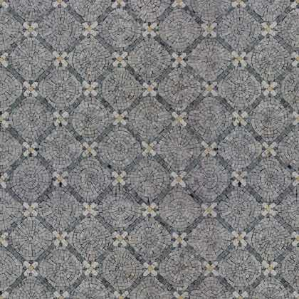 HF129 Repetitive Field Cut Mini Flowers Carpet Marble Mosaic