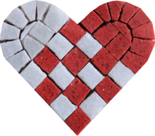 Red White Heart Interweave Mosaic