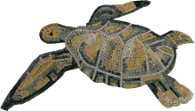 Sea Turtle in Onyx Mosaic
