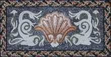 Oriental Pompeii Mosaic with Dolphins and Sea Shell Motif