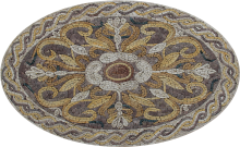Floral Oval Outdoor Mosaic Tile