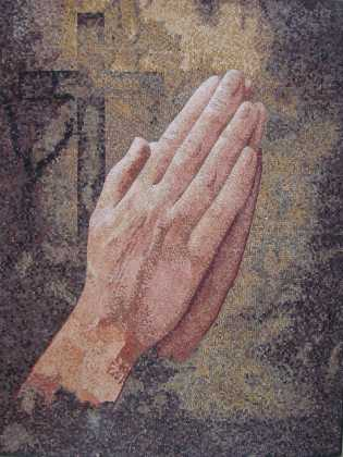 Praying Hands with Cross Religious Mosaic Mural