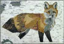 Red Fox in Snow Mosaic Mural