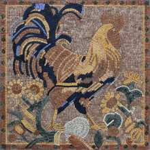 Rooster and Sun Flowers Kitchen Mosaic