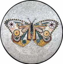 Marble Medallion Colorful Butterfly Mosaic