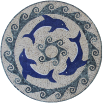 Blue Dolphins Medallion   Mosaic