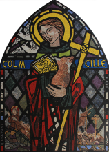 Saint Columba Mosaic Icon in Stained Glass Impression