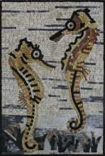 Double Sea Horse Underwater Mural Mosaic