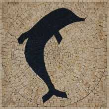 Fish square blue dolphin for the pool Mosaic