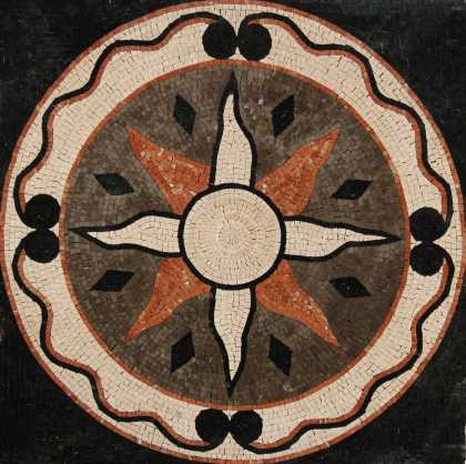 Black and Orange Sun Mosaic Art